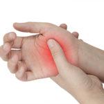 femal hand Injury isolated on white background