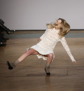 FILE In this Feb. 16, 2010 file photo, a model takes a tumble on the runway during the Marc by Marc Jacobs fall 2010 fashion show, during Fashion Week in New York. (AP Photo/Seth Wenig, File)